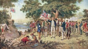 1st April 1770:  A print from a painting showing Captain James Cook (1728 - 1779) taking possession of New South Wales, taken from the collection of the Philosophical Institute of Victoria.  (Photo by Hulton Archive/Getty Images)